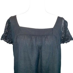 Old Navy Tops - Old Navy sz S black short lace sleeve loose blouse